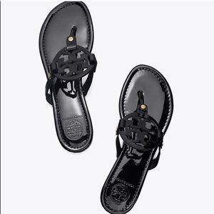 Tory Burch Black Patent Miller Sandals Size 7